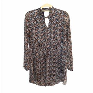 Lush Floral Long Sleeve Shift Dress With Keyhole